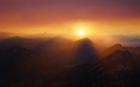 Картинка закат, горы, дымка