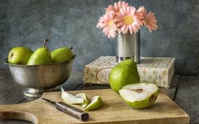 Картинка цветок, нож, груша