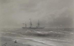 Картинка рисунок, морской пейзаж, Иван Айвазовский, 1879, Корабль Вдоль Берега