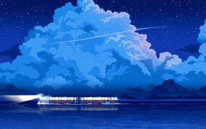 Картинка Вода, Облака, Отражение, Море, Ночь, Звезды, Стиль, Электричка, Clouds, Арт, Stars, Art, Water, Style, Night, …