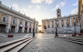 Картинка Рим, Италия, Капитолийский холм, Капитолийская площадь, конная статуя Марка Аврелия