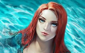Картинка взгляд, вода, девушка, арт, Аквамен