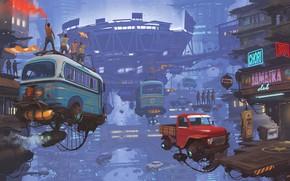 Картинка Небо, Авто, Город, Машина, Футбол, Машины, City, Fantasy, Sky, Арт, Art, Auto, Фантастика, Machine, Матч, …