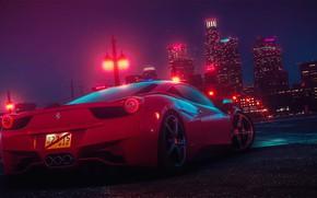 Картинка Авто, Ночь, Город, Машина, Car, NFS, Need for Speed, Ferrari 458 Italia, 2015, Transport & …