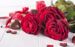 Картинка подарок, розы, букет, сердечки, красные, red, love, flowers, romantic, hearts, chocolate, valentine's day, roses, gift …