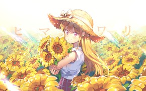 Картинка лето, подсолнухи, букет, девочка, бант, каникулы, лучи солнца, длинные волосы, соломенная шляпа, by GZery