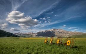 Картинка поле, небо, трава, облака, горы, синева, холмы, луг, простор, колёса, запчасти