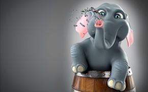 Картинка купание, арт, детская, слонёнок, Michael Santin, Ellie - The Elephant