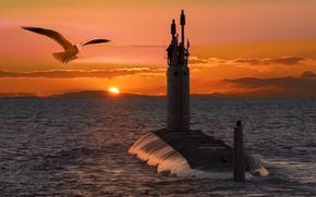 Картинка закат, субмарина, поход, заря