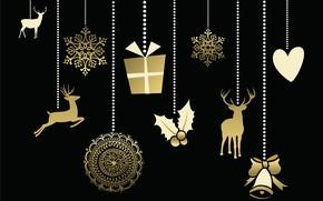 Картинка фон, праздник, черный, Новый год, gold, декор