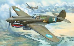 Картинка Истребитель, P-40, Warhawk, Боевой самолет, Flying Tigers, P-40E