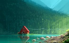 Картинка forest, lake, artwork, sawmill