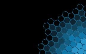 Картинка simple background, geometric shapes, minimalism, geometry, black background, blue, black, texture, Hexagons