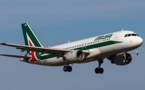 Картинка лайнер, Airbus, Alitalia, A320-214