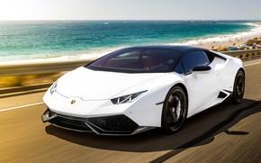 Картинка море, побережье, скорость, Lamborghini, суперкар, 2015, Huracan, LP-610