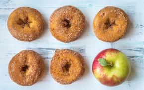 Картинка яблоко, сахар, пончики