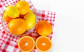 Картинка апельсины, миска, лимоны, мандарины, цитрусовые, салфетки