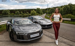 Обои Audi, модель, Девушка, Porsche, фигура, ножки, Oleg Klimin