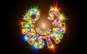 Картинка свет, огни, сияние, буквы, надпись, цвет, вектор, огоньки, Рождество, Новый год, черный фон, полукруг, разноцветные, …