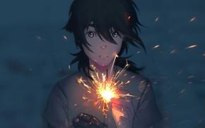 Картинка девушка, руки, бенгальский огонь