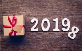 Картинка дерево, подарок, доски, Новый Год, new year, wood, winter, background, gift, 2019