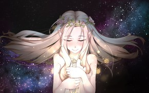 Картинка девушка, космос, меч, венок