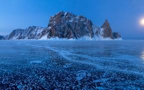 Картинка зима, скала, озеро, остров, лёд, Россия, Озеро Байкал, Остров Ольхон, Мыс Хобой