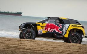Картинка Песок, Океан, Авто, Спорт, Машина, Берег, Гонка, Peugeot, Red Bull, Rally, Dakar, Дакар, Внедорожник, Ралли, …