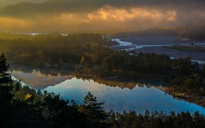 Картинка лес, свет, туман, отражение, река, вид, утро, долина, дымка, водоем, берега