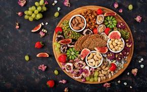 Картинка сладости, strawberry, киви, berries, ягоды, хлеб, wood, summer, tropical, виноград, клубника, fruits, орехи, sweet, фрукты, …