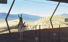 Картинка девушка, горы, скелет, ушки, раскопки