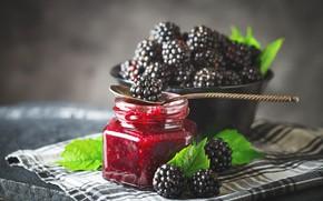 Картинка ягоды, малина, ложка, банка, ежевика, варенье, спелые
