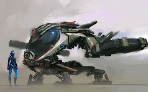 Картинка fantasy, science fiction, sci-fi, digital art, artwork, concept art, fantasy art, Spaceship, helmet, astronaut, spacesuit