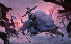 Картинка девушка, снег, битва, Sejuani, Legends of Runeterra