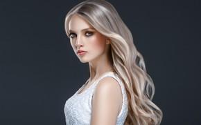 Картинка взгляд, лицо, поза, волосы, портрет, красота, длинные волосы, локоны, Blonde, mode, hairstyle, плече, Ryabusjkina Irina