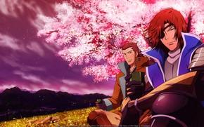 Картинка поле, природа, самурай, парень, Sengoku Basara, Эпоха Смут
