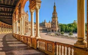 Картинка башня, площадь, колонны, архитектура, Испания, Spain, Севилья, Plaza de España, Seville, Площадь Испании
