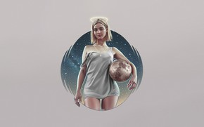 Картинка Девушка, Минимализм, Мяч, Планета, Блондинка, Космос, Стиль, Girl, Space, Planet, Style, Ball, Blonde, Illustration, Minimalism, …
