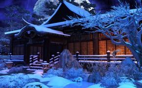 Картинка снег, деревья, дом, луна, HuNanTang