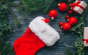 Картинка украшения, шары, Новый Год, Рождество, подарки, Christmas, balls, wood, New Year, decoration, сапожок, gift box, …