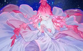 Картинка девушка, космос, Houseki no Kuni, Страна Самоцветов