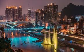 Картинка ночь, мост, огни, река, здания, дома, Тайвань, фонтаны, New Taipei