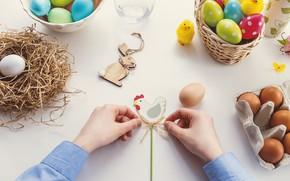 Картинка яйца, курица, руки, Пасха, фигурка, Easter