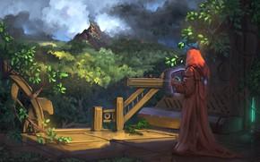 Картинка dark, fantasy, forest, magic, trees, nature, man, book, artwork, fantasy art, gazebo, illustration, sorcerer, hood, …