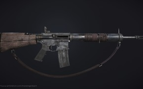 Картинка рендеринг, оружие, винтовка, weapon, render, custom, ar-15, assault rifle, assault Rifle, post apocalypse, пост апокалипсис, …