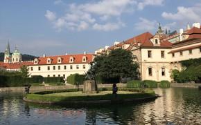 Картинка город, Прага, фонтан, архитектура, храмы