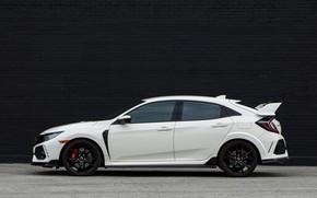 Картинка белый, стена, Honda, вид сбоку, хэтчбэк, пятидверный, 2019, Civic Type R, 5th gen, FK8