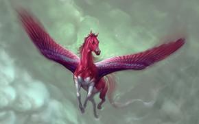 Обои Небо, Облака, Лошадь, Рисунок, Полет, Крылья, Fantasy, Арт, Фантастика, Concept Art, Pegasus, Пегас, Marianna Gadzhy, ...