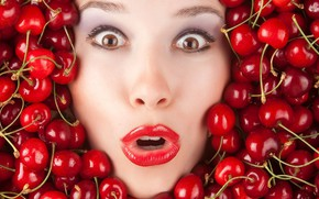 Картинка pretty, face, cherry, funny, cherries, silly, lipstick, surprise, not cranberries