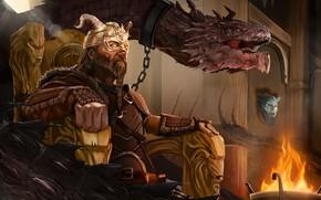 Картинка Дракон, Король, Трон, Конунг